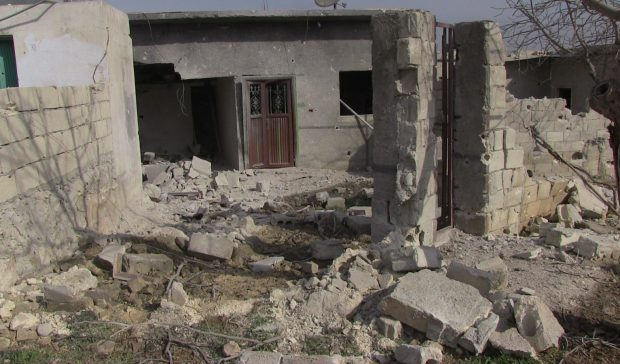 Photo of Turkey ,its mercenaries continuing  to destroy civilian 's  houses infrastructure