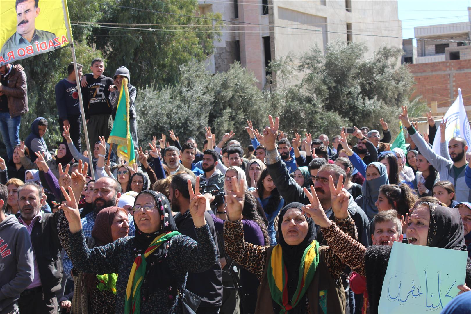 Photo of Qamishlo's people sit-in front of United nation headquarters condemning international silence towards Afrin