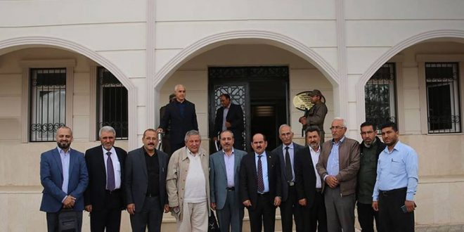 "Photo of The delegation of the coalition and its president in Afrin ""amid the absence of a full members of the Kurdish National Council"""