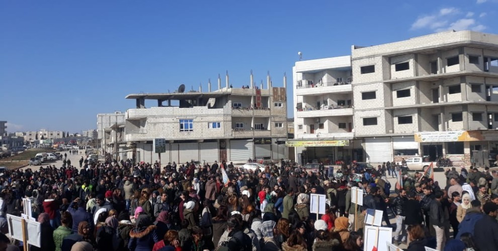 Photo of Kobanê people protest the occupation of Afrin