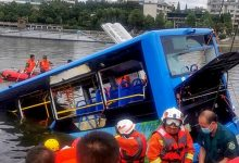 Photo of 21 killed as a bus capsizes in lake in China