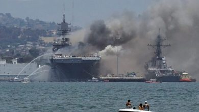 "Photo of Putting out fire on an American warship in ""San Diego"""