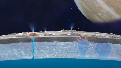 Photo of Jupiter's icy moon Europa may glow in the dark